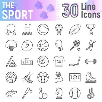 Спортивная линия икона set, коллекция фитнес символов