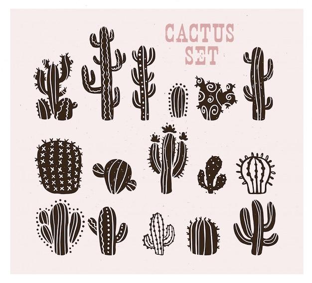 Коллекция черной руки оттянутая коллекция эскиза кактуса изолирована. плоский кактус икона set. природа элементы иллюстрации.