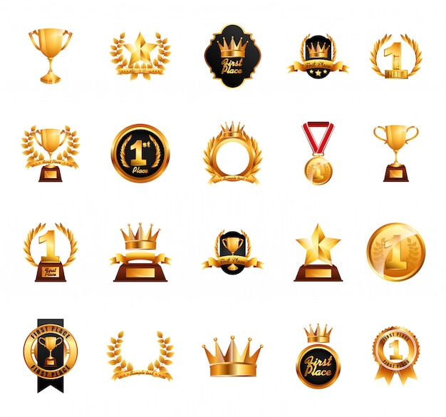 Изолированные награды икона set
