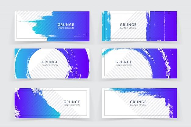 Гранж арт синий и фиолетовый цвет баннер set