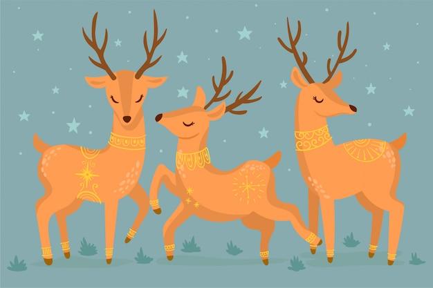 Рождественский олень икона set