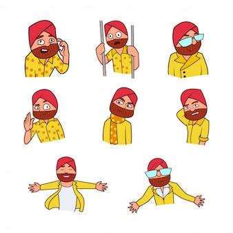 Иллюстрация панджаби сардар мультфильм set.