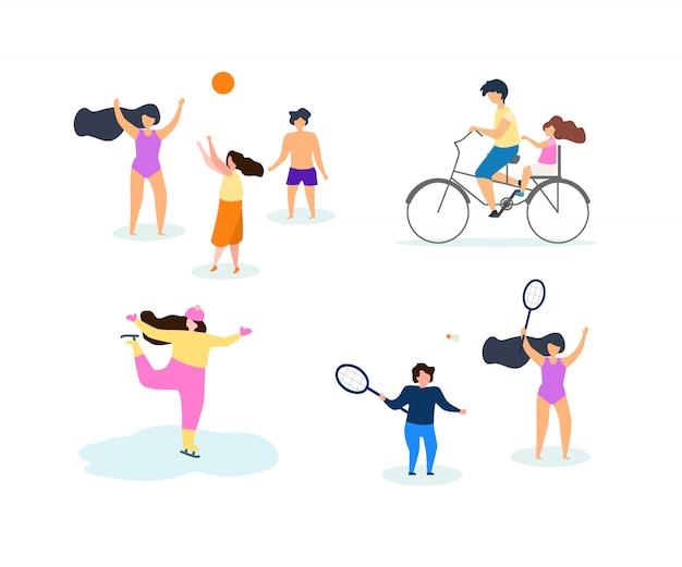 Сезон движения спорт вектор плоский иллюстрация set.