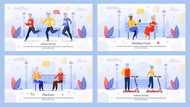 Зрелые люди персонажи отдых мотивировать баннер set
