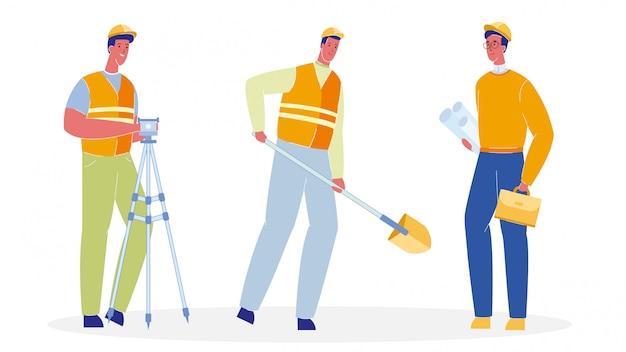Рабочие в единой плоской векторной иллюстрации set