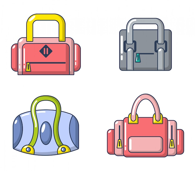 Спортивная сумка икона set. мультяшный набор спортивной сумки векторные иконки установить изолированные