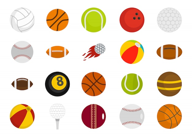 Спортивные мячи икона set. плоский набор спортивных мячей векторная коллекция икон изолированы