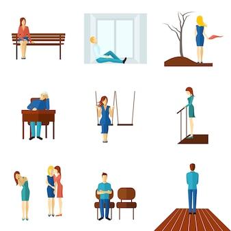 Одинокие люди с плоским икона set