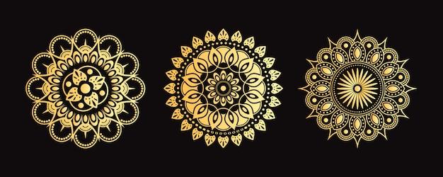 Старая мандала set. коллекция декоративных цветов