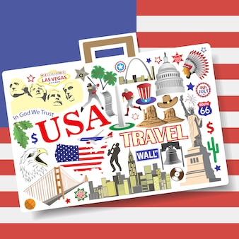 Setamerican landmarks icons and symbols in form of suitcase