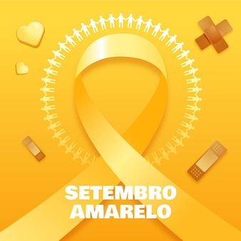Setembro amarelo background with ribbon