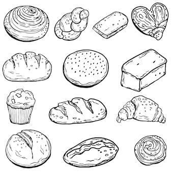 Сет выпечки. хлеб. отдельный на белом фоне. doodle стиль