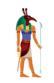 Aardvark 머리를 가진 세스 이집트 신. 고대 이집트 신