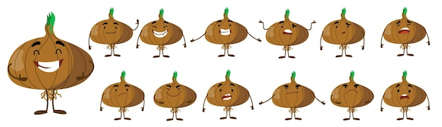 Seth is a cute onion character with different emotions.