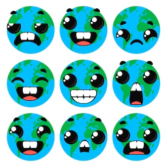 Seth planet earth with emotions. children s funny clipart. vector illustration in cartoon style.
