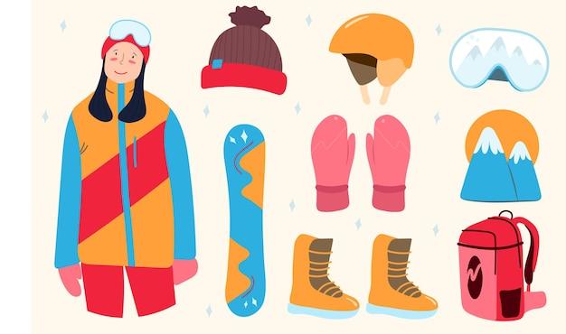 Сет сноуборд и женщина