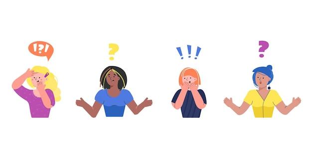 Сет женские эмоции любопытное выражение на лице удивленное лицо вопросительный знак