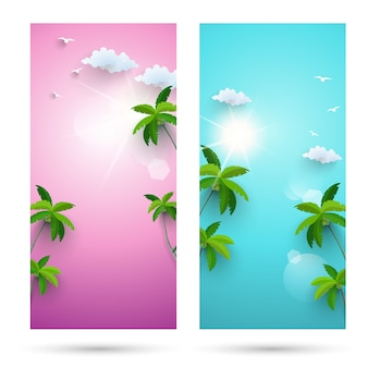 Sets of backgrounds for summer holiday