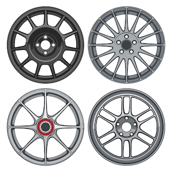 Sets of car wheels rims line art silhouette illustration for conceptual design