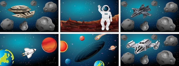 Sets of different space scenes