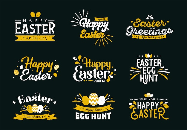 Sets of easter typography