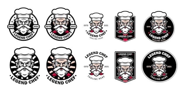Sets of legendary restaurant or food logo with old chef as mascot
