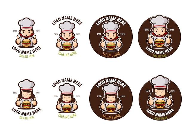 Sets logo for burger shop or restaurant