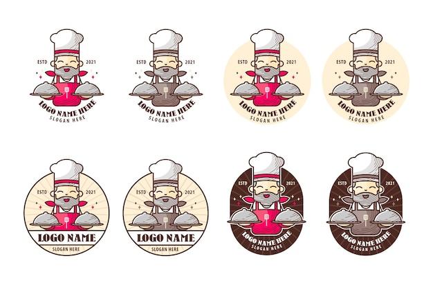 전설적인 요리사를 마스코트로 하는 레스토랑 로고 설정