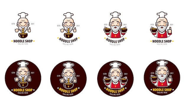 Sets logo of noodle restaurant with old chef as mascot