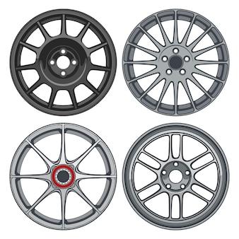 Наборы автомобильных колесных дисков, линия силуэта, иллюстрация для концептуального дизайна