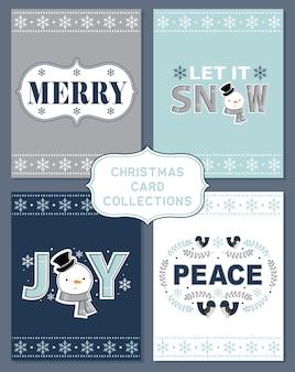 크리스마스 인사말 카드, 파란색과 은색 시리즈 세트