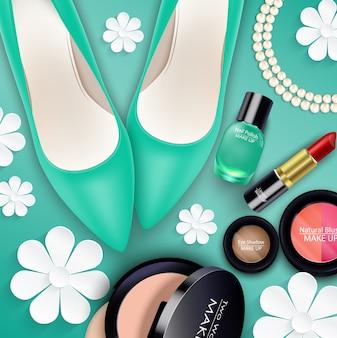 緑の背景に化粧品のセット