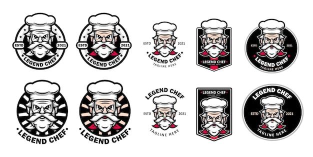 마스코트로 오래된 요리사가있는 전설적인 레스토랑 또는 음식 로고 세트