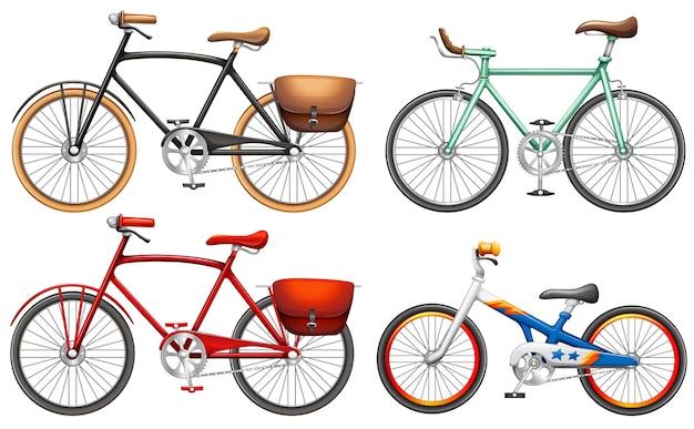 흰색 배경에 페달 자전거 세트