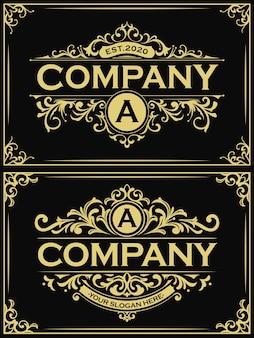 長方形の金のビンテージロゴのセット