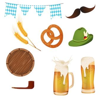 Sets oktoberfest. illustration with oktoberfest elements