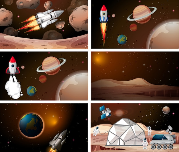 Sets of rockets and space scene