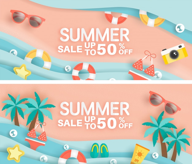 Sett of summer sale banner with summer element in paper cut style .