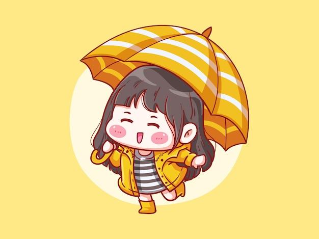 Милая и кавайная девушка в плаще играет под дождем