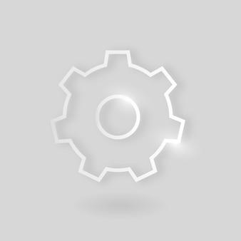 灰色の背景に銀色のギアベクトル技術アイコンを設定する