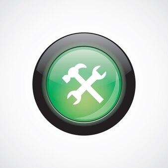 설정 서명 아이콘 녹색 빛나는 버튼. ui 웹사이트 버튼