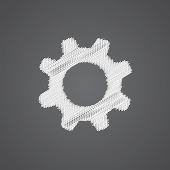 Settings sketch logo doodle icon isolated on dark background