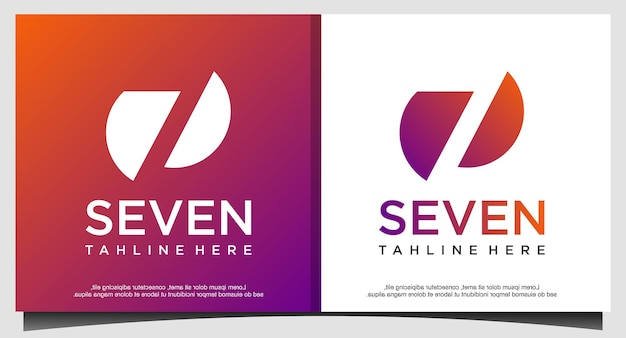 Seven abstract logo design vector