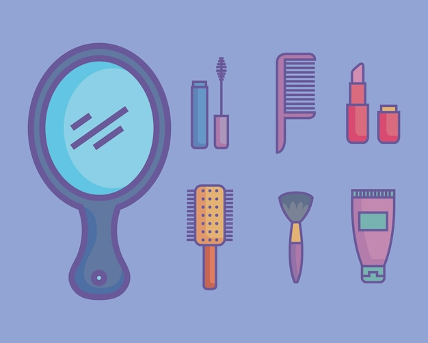 Seven beauty products icons Premium Vector