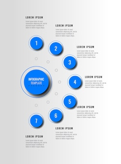 Seven blue infographic elements with realistic shadow in vertical diagram on a white background