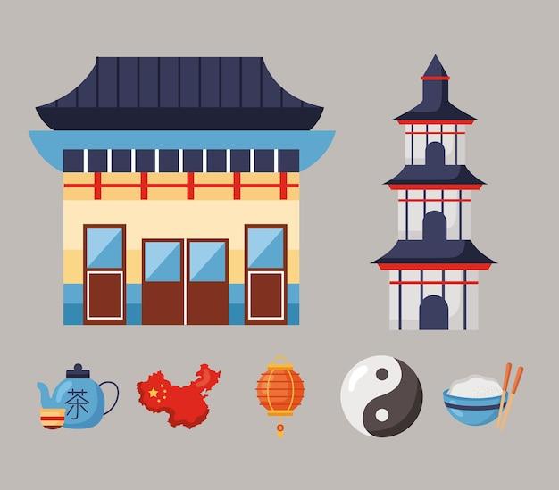 Семь китайских республик набор иконок