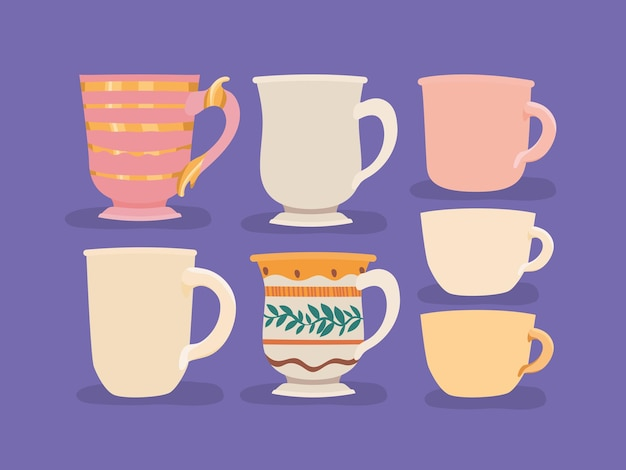 Seven coffee cups