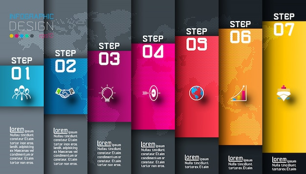 Seven colorful bars with business elements infographic template