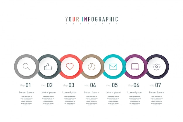 Seven colorful elements, thin line pictograms, pointers and text. infographic concept design with 7 successive steps.
