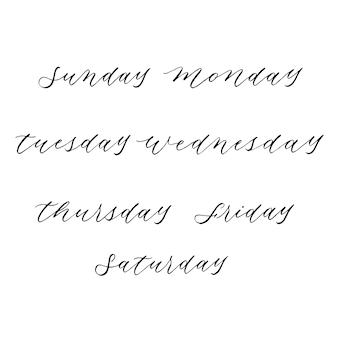 Семь дней на неделю дизайн каллиграфии